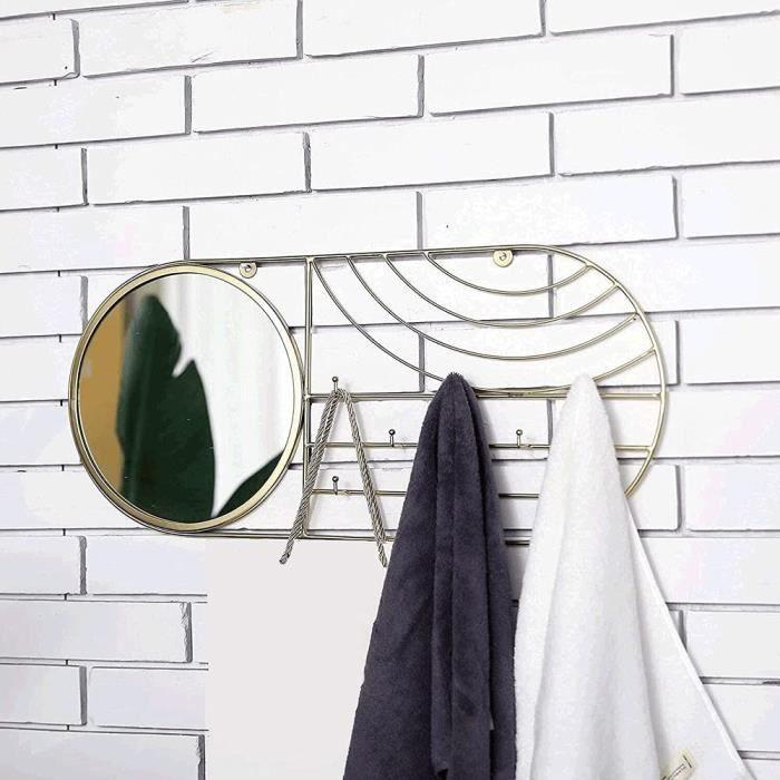 miroirs muraux Miroir Mural rectangulaire 59.7 cm Miroir murales Design Grand doré mirroir Decoration Murale Miroir Rond Mural[541]