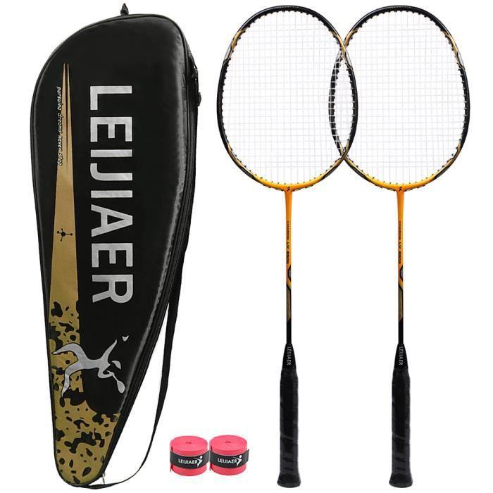 1 paire de Raquette de badminton pour Formation Professionelle Adulte Raquette résistante au carbone Jaune & Noir