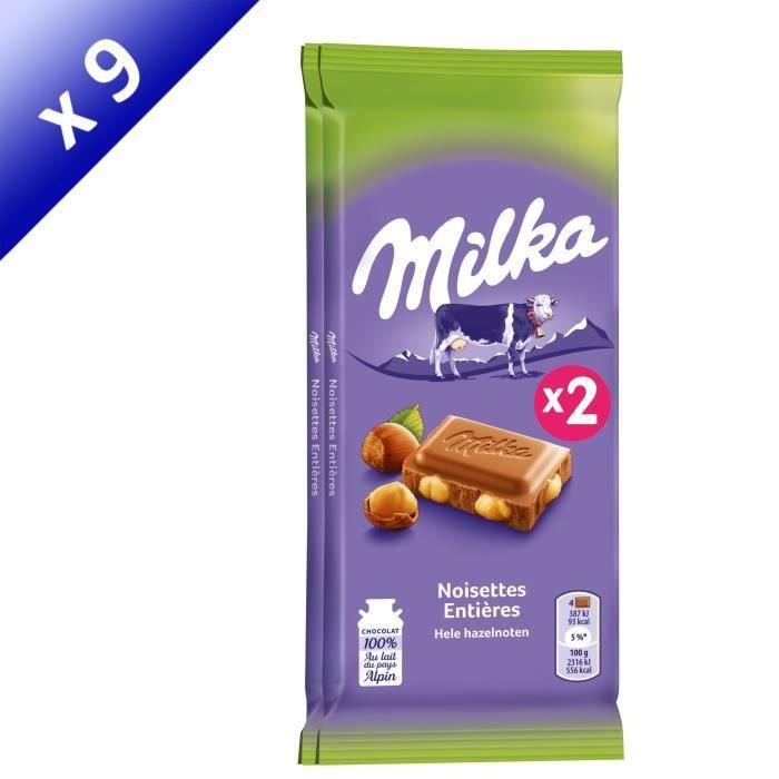 [LOT DE 9] MILKA Chocolat au lait Noisettes entières 2 x 100g
