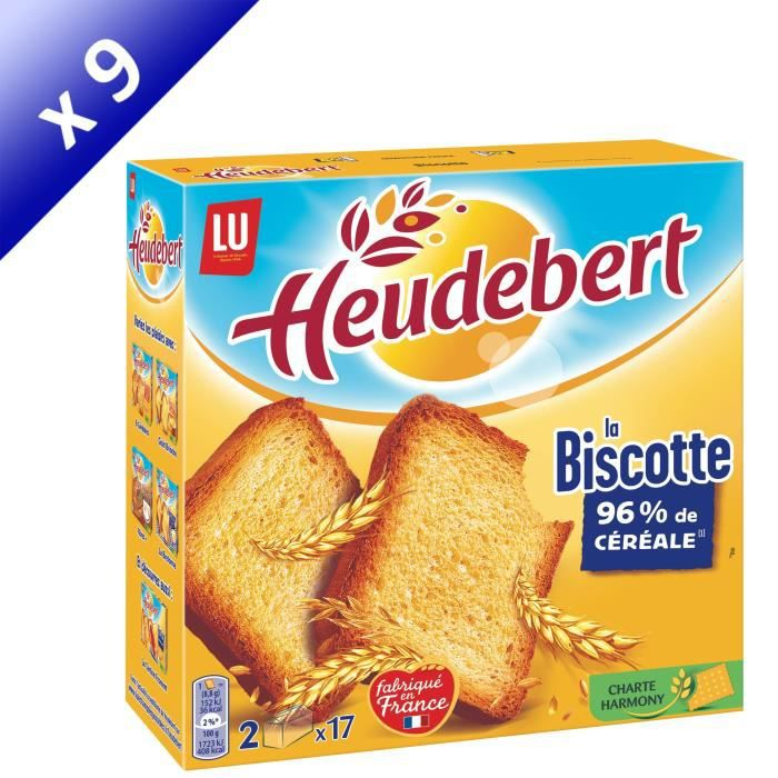 [LOT DE 9] HEUDEBERT 34 Biscottes natures 300g