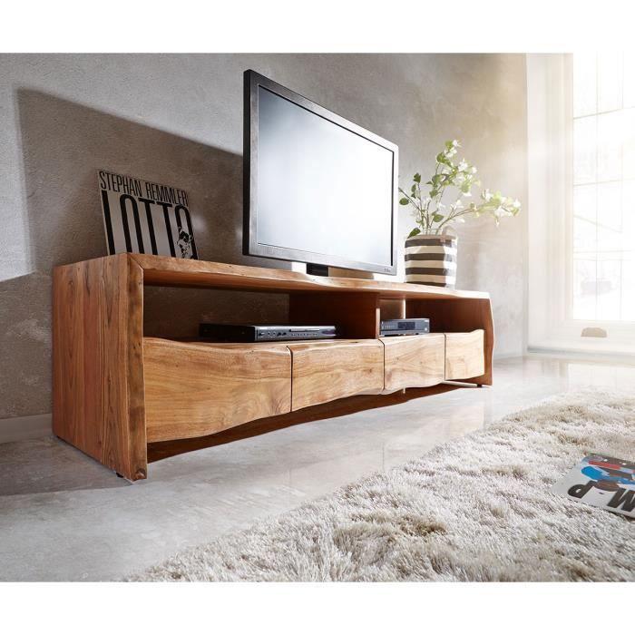 Table-TV Live-Edge acacia nature 190 cm 4 tiroirs bord de l'arbre Lowboard