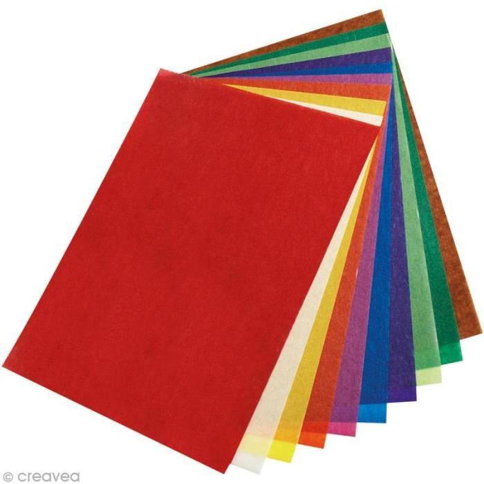 Kit papier transparent - Feuilles multicolores - 10 pcs Assortiment de papiers transparent aux couleurs assorties, - Quantité : 10
