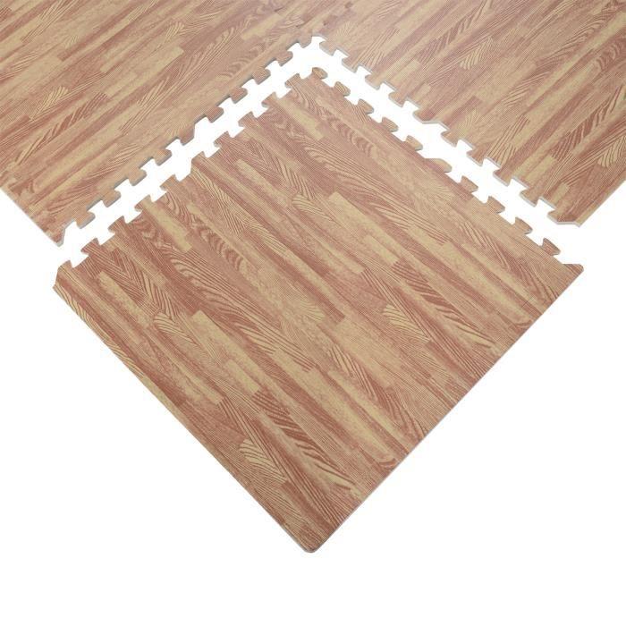 Tapis interconnectables en mousse 62 cm x 62 cm x 13 mm avec bordures tapis puzzle 25 pièces 9,3 m² de surface imitation parquet ...