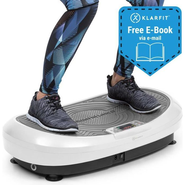 Klarfit VIBE 4DX plateforme vibrante & oscillante cardio fitness avec Ecran d´affichage LCD - 10 modes & 30 vitesses - 440W - blanc