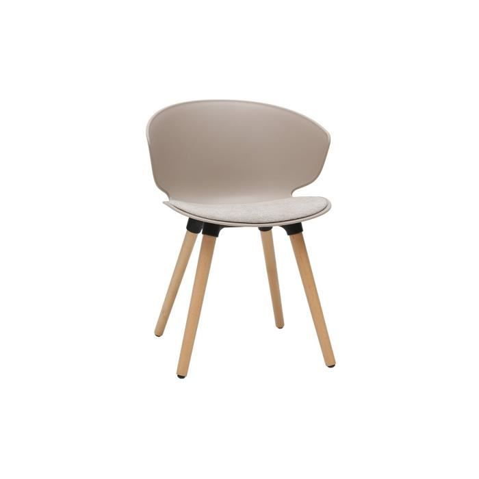 Miliboo - Chaise design taupe et bois clair WING