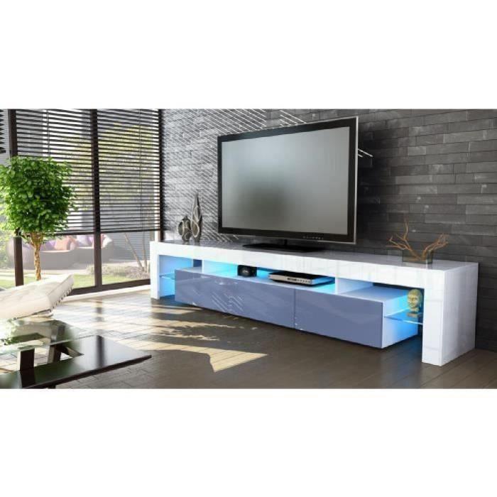 Meuble tv blanc et gris 189 cm avec led