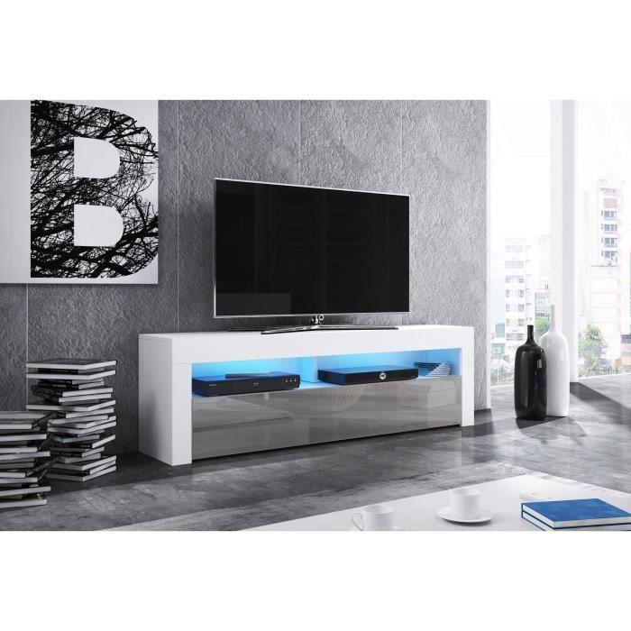 Meuble TV design MEXICO 160 cm, 1 porte et 1 niche, coloris blanc et gris brillant + LED L 160 X P 35 X H 50 cm Blanc