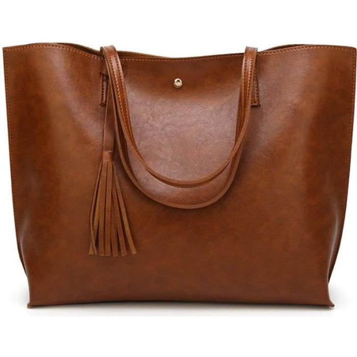 Grand Sac a Main Femme PU en Cuir, Sac Fourre-Tout Portes Epaule Bandouliere Simple(Marron)