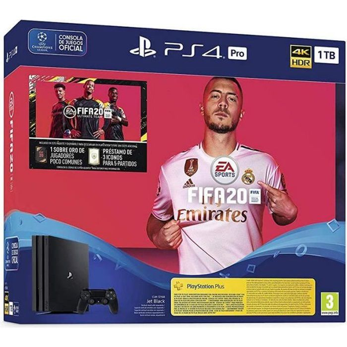 Sony PlayStation 4 Pro 1To + FIFA 20 Ultimate Team + PS Plus 14 Jours