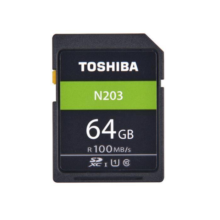 Carte Mémoire SD 64 Go TOSHIBA N203 U1 Class10 Carte SDHC SDXC UHS-I Full HD 100 Mo-s pour Appareils Photo