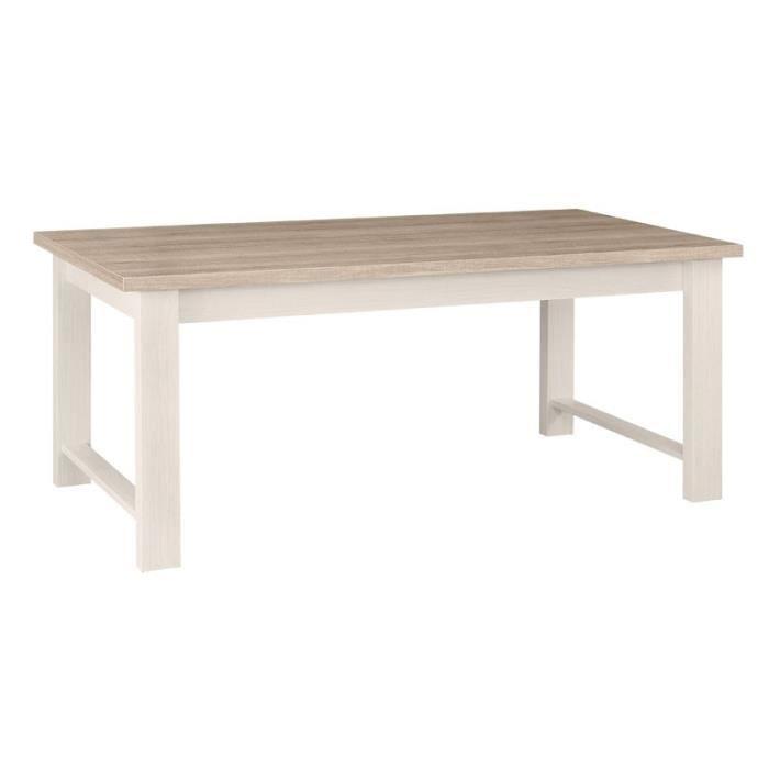 Table de repas rectangulaire Frêne Blanchi - POMPEI - L 180 x l 90 x H 77