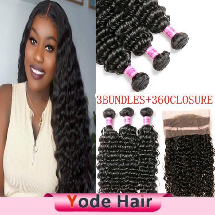 (20 22 24+18-closure)Mèches 3bundles Péruviennes Remy Cheveux Naturels Deep Wave Avec Lace Frontal 360