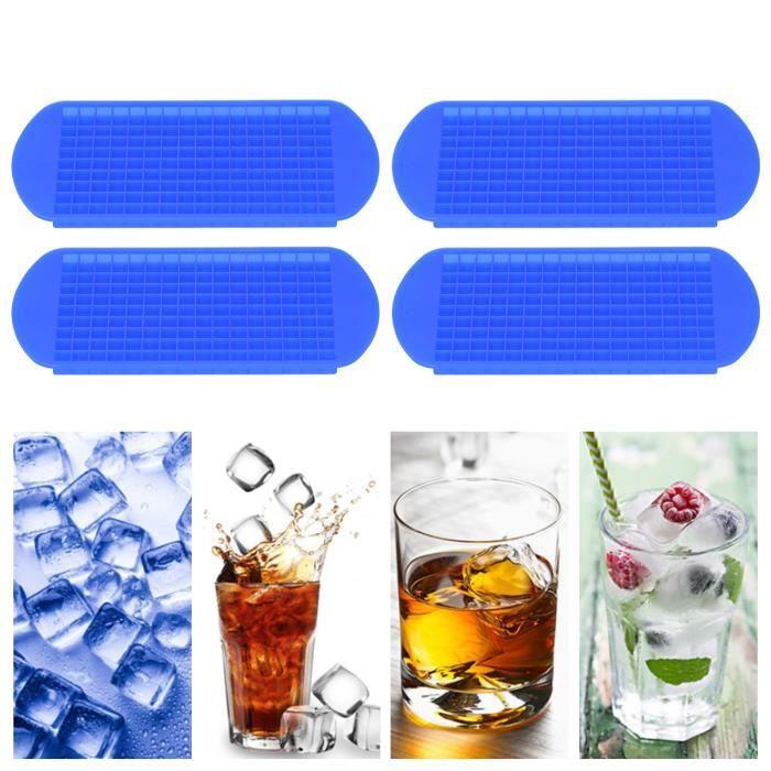 BOV 4 pièces Bac à Glaçons Silicone - 160 Moules à Glaçons 1x1 cm de chaque Glaçons pour l'eau, bébés, purée, Whisky,Glace