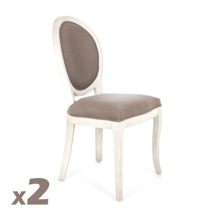 CHAISE 2 Chaises Medaillon Cleon Taupe