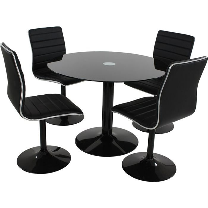 table de repas design alice noir 4 chaises achat. Black Bedroom Furniture Sets. Home Design Ideas