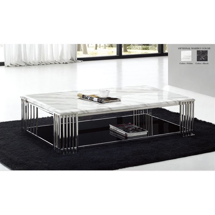 table basse marbre blanc et chrome felicia achat vente. Black Bedroom Furniture Sets. Home Design Ideas