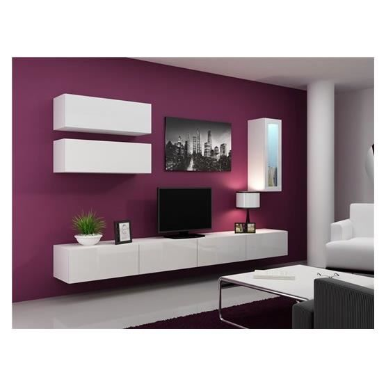 Meuble tv design suspendu bini blanc achat vente for Meuble tv suspendu but