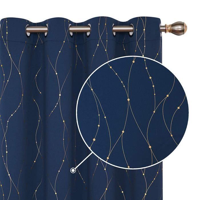 Deconovo Lot de 2 Rideaux Occultants Cuisine /à Motif Dor/é en Ligne et Point Rideau Chambre Designe Moderne Bleu Marine 117x183cm
