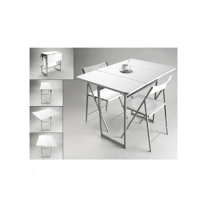table pliante 2 chaises blanches achat vente table a. Black Bedroom Furniture Sets. Home Design Ideas