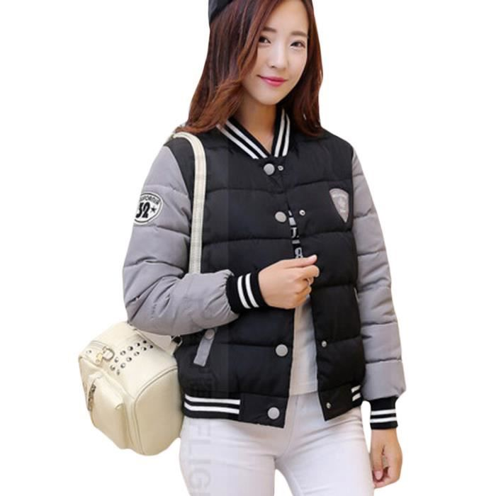 femme epaissir doudoune manteau courte baseball parka veste manches longue noir noir achat. Black Bedroom Furniture Sets. Home Design Ideas