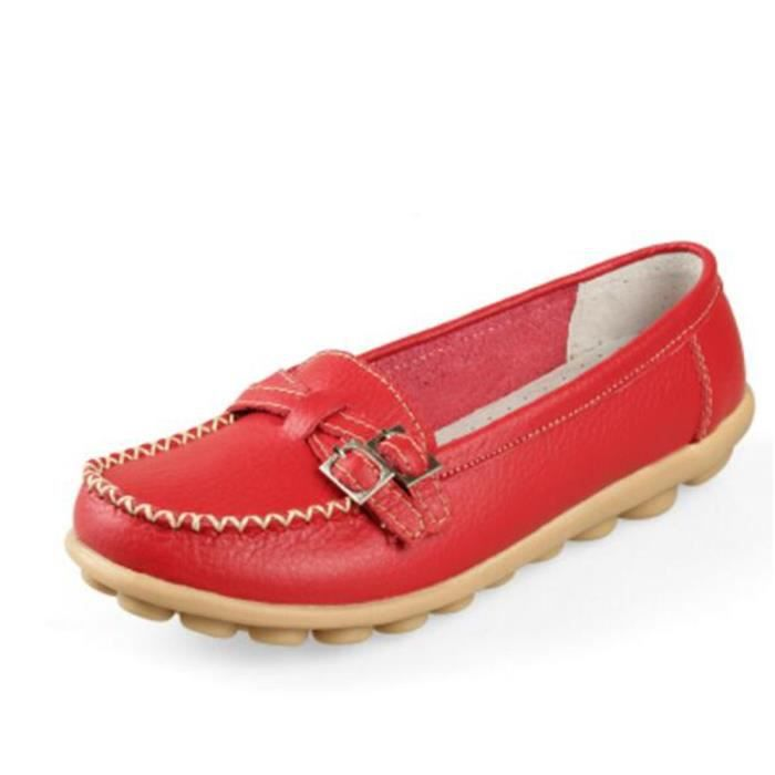 Mocassin Femmes Mode Loafer Detente Casual Chaussures BDG-XZ088Rouge36 b6PDzj0q