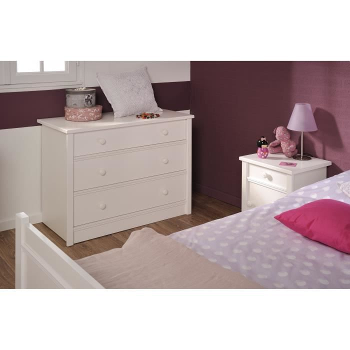 Camill commode chambre adulte style contemporain blanc for Meuble chambre adulte contemporain