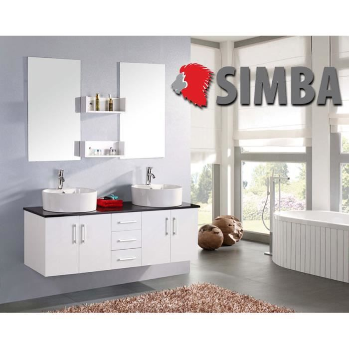 meuble salle de bain double vasque luxe beau meuble double vasque 150 cm blanc mod lion. Black Bedroom Furniture Sets. Home Design Ideas