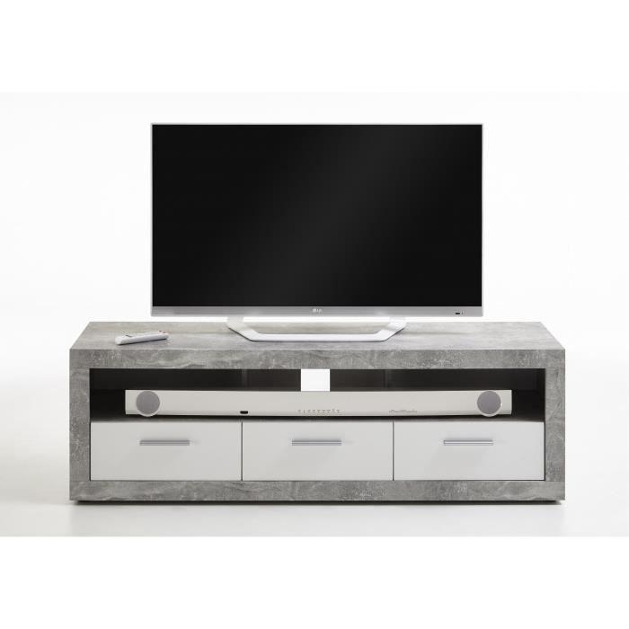 Turbo Meuble Tv Gris Beton Et Blanc Brillant L 152 X P 45 3 X H 49 Cm