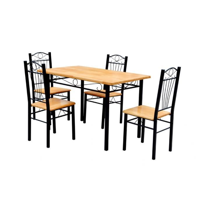 table 4 chaises en contreplaqu achat vente table de. Black Bedroom Furniture Sets. Home Design Ideas