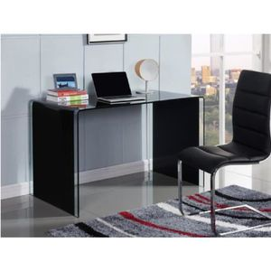 bureau verre noir achat vente bureau verre noir pas. Black Bedroom Furniture Sets. Home Design Ideas