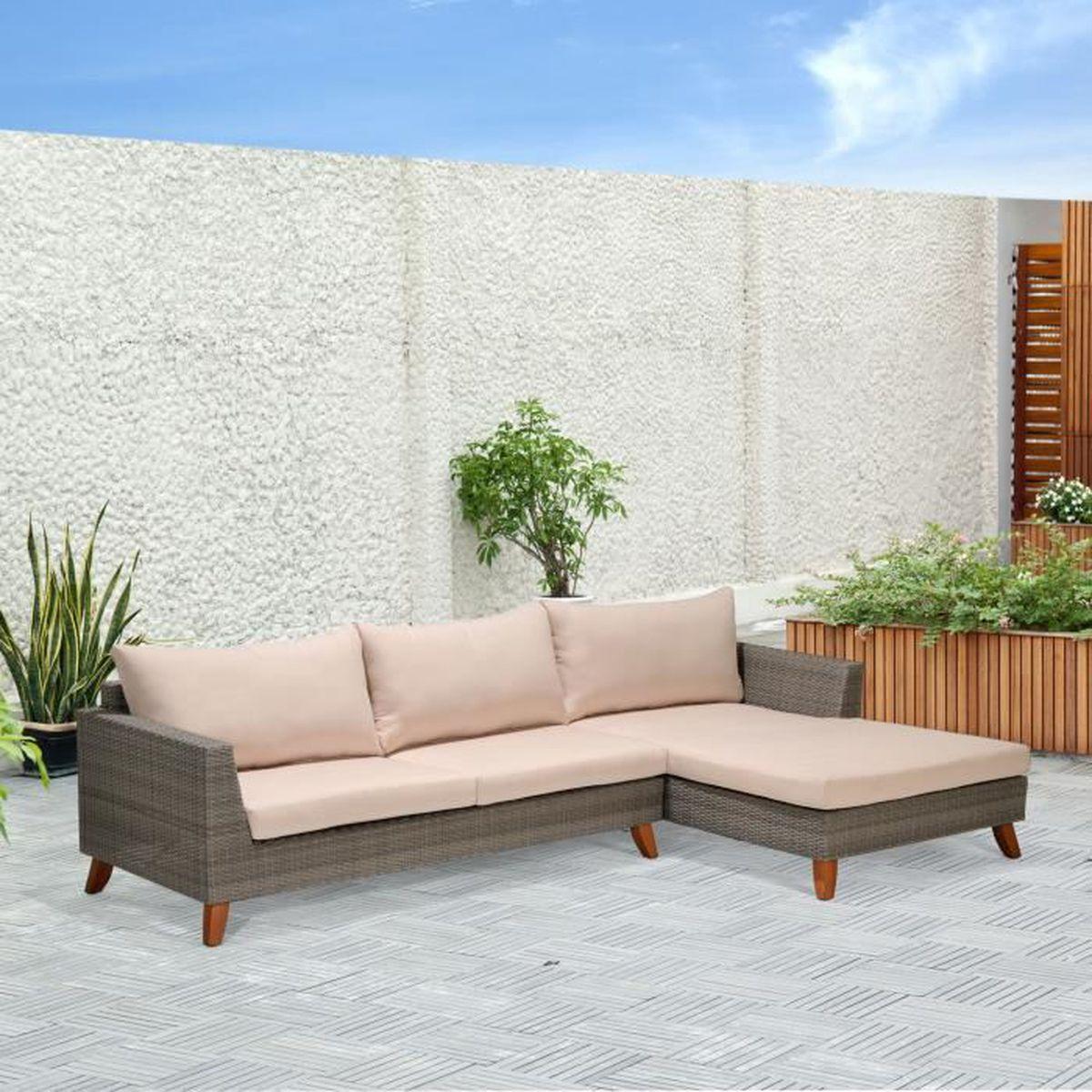 Palawan Salon de jardin gris effet rotin tressé (4 à 6 ...