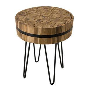 TABLE D'APPOINT Table d'appoint ronde - Teck recyclé cerclée et pi