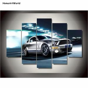 TABLEAU - TOILE Toiles Impressions Ford Mustang Gris Shelby Peintu