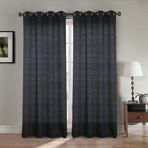 RIDEAU Paire double rideaux 140x260 cm Noir - Effet lin