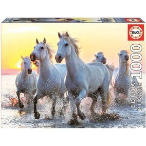 PUZZLE EDUCA - Puzzle Chevaux Blancs 1000 pièces