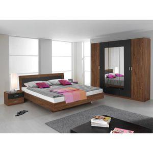 Chambre adulte contemporaine chêne foncé/gris Nymphea-160 x ...