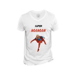 T-SHIRT T-shirt Homme Col V Super Maman Super Woman Wonder