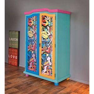 ARMOIRE DE CHAMBRE Armoire enfant avec 3 portes coloris multicolore -
