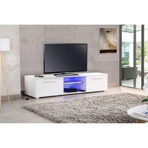 MEUBLE TV HELSINKY Meuble TV LED contemporain en bois mélami