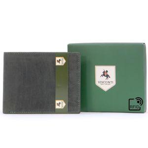 Hommes Cuir Véritable Zip complet autour de Bi-Fold Portefeuille RFID Noir 52