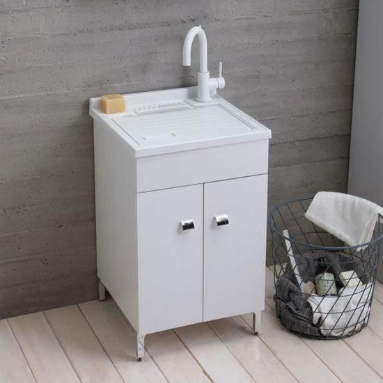 Lavoir De Buanderie 50x50 Cm Avec Meuble Blanc Et Planche Incluse Achat Vente Meuble Vasque Plan Lavoir De Buanderie 50x50 Cm Cdiscount