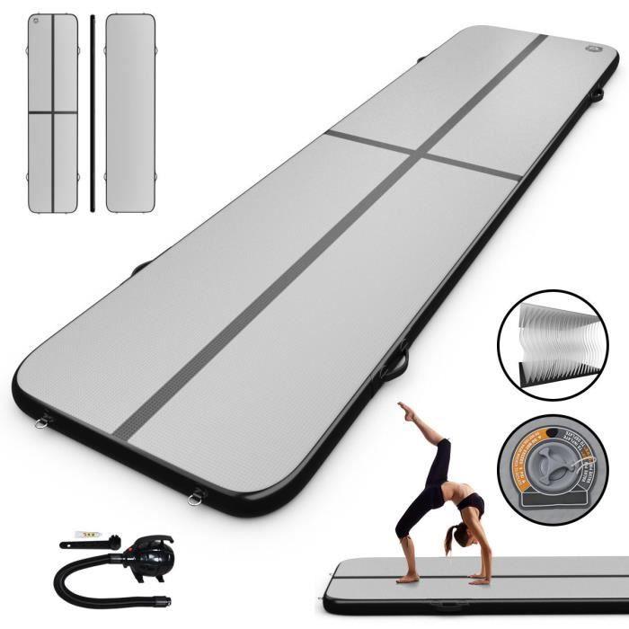 COSTWAY Tapis de Gymnastique Gonflable 4x1x0,1M avec Pompe de Gonflage Electrique Airtrack Gymnastique pour Yoga Taekwondoe Tumbling
