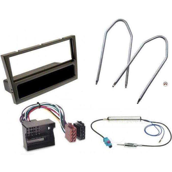 Kit Adaptateur Autoradio 1DIN avec vide-poche noir Opel Agila/ Combo C/ Corsa C/ Meriva/ Tigra/ Vivaro + ISO + FM + Cles