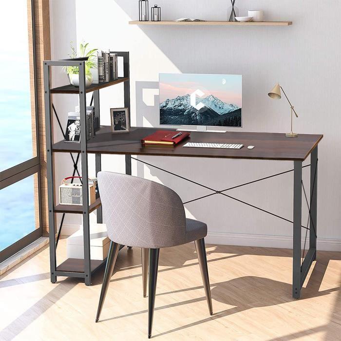 Table Bureau Informatique Ordinateur PC Etude Ecriture Poste de Travail en Bois Pieds en Metal Style Industriel Moderne(539)