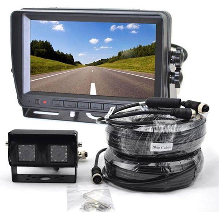 Caméra de recul à double objectif & moniteur de vue arrière LCD TFT 7 pouces pour camping-car, camion, bus,RV