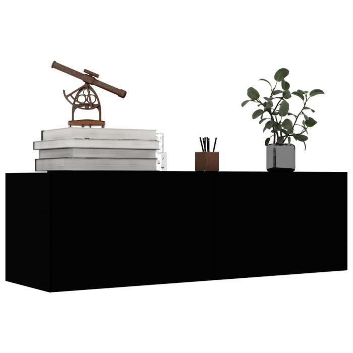 FHE Meuble TV Noir design tendance 100x30x30 cm Aggloméré☼1
