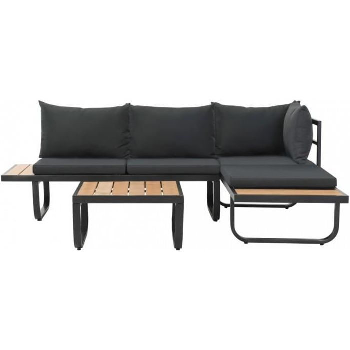 Canapes d'exterieur Canape d'angle avec table et coussins Aluminium WPC