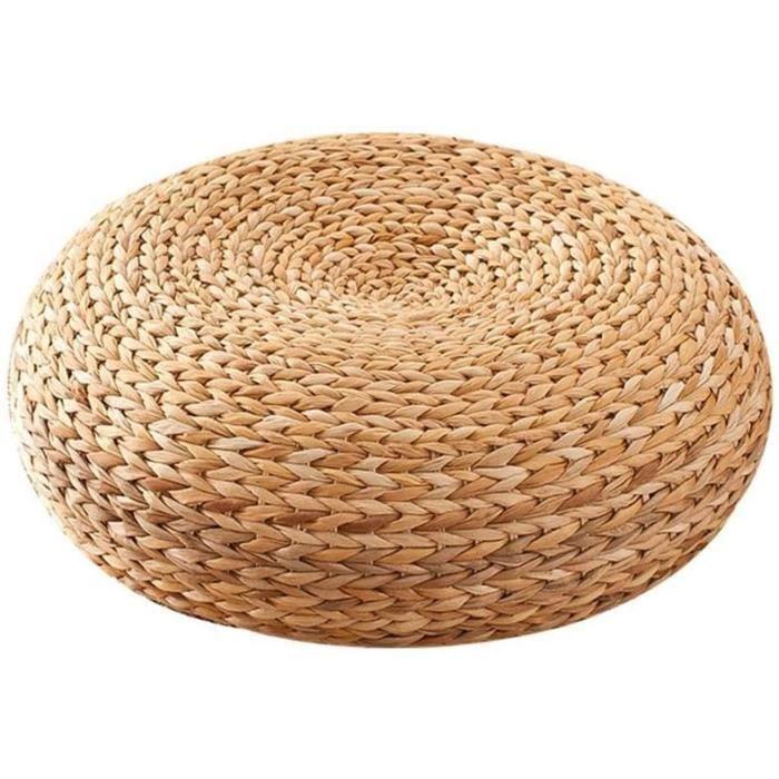 Coussin fait main de paille rond, tapis de plancher de yoga de coussin de chaise de yoga de coussin de futon de coussin
