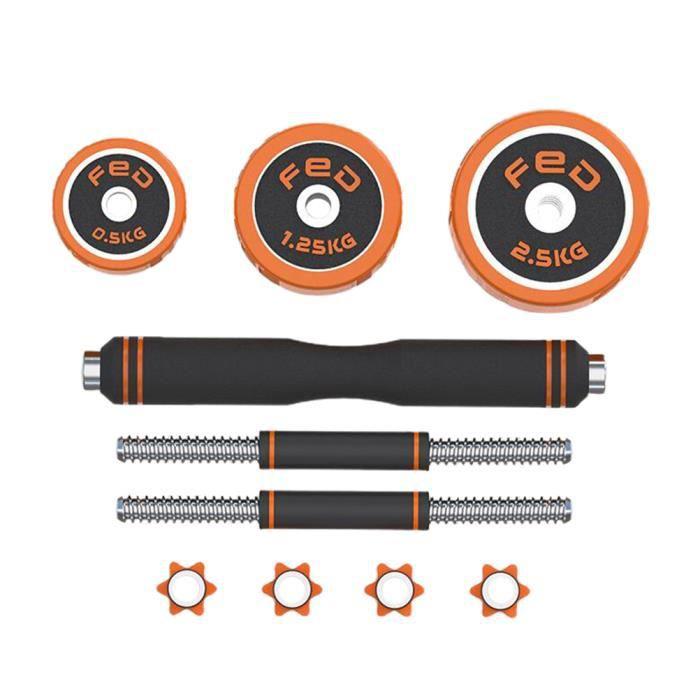 1 Set haltères 30kg+Anneau En Caoutchouc Orange-Détachable Electroplated Haltère Kit pour Hommes et Femmes