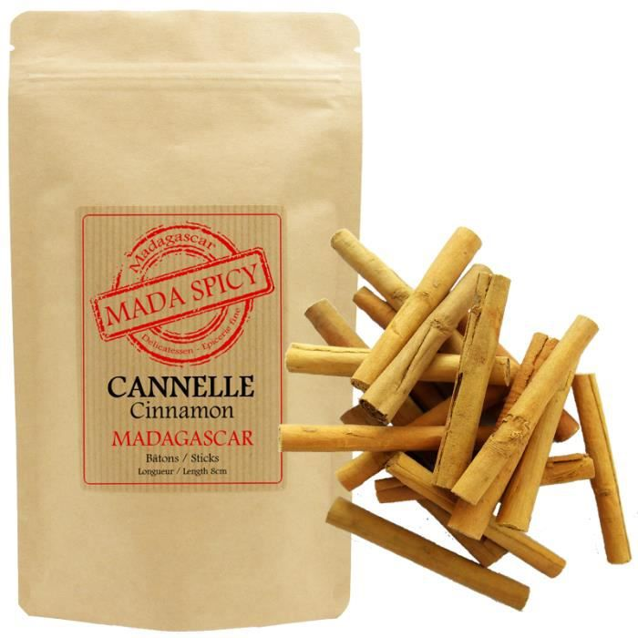 Cannelle de Ceylan en bâtons de 8cm (100 grammes - +ou- 28 bâtons - qualité alimentaire) Origine Madagascar.